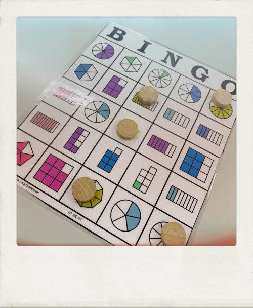Laboratorio de matemáticas: Bingo de fracciones.