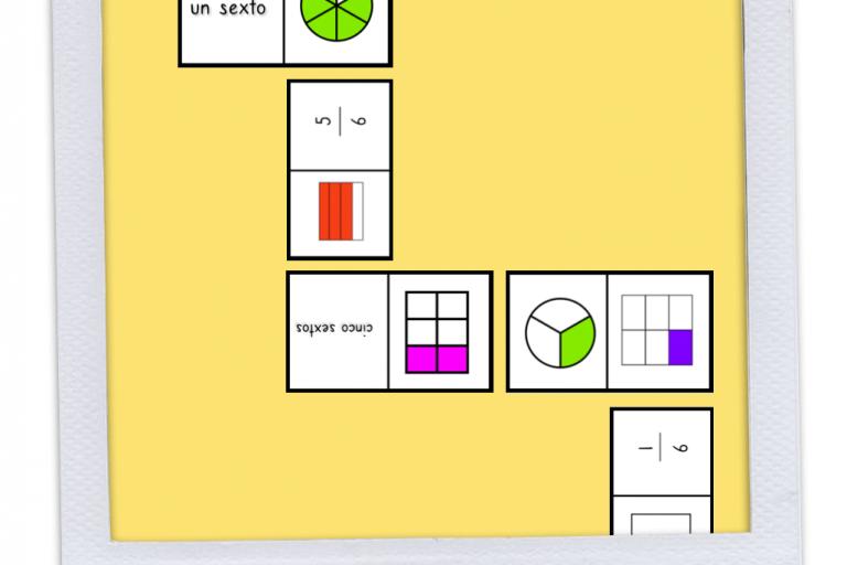 Laboratorio de matemáticas: Dominó de fracciones.